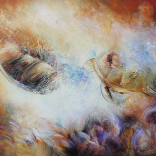 """""""Nueva Vida"""" 2010 Mixed media on canvas 120 x 200 cms"""
