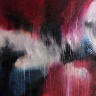 """Together"" 2007 Acrylic on canvas 140 x 360 cms"