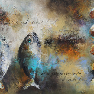 """Je Peux me Demultiplier"" 2012 Mixed media on canvas 120 x 180 cms"