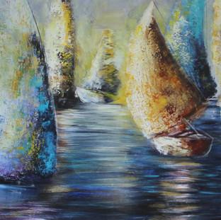 """""""Viento"""" 2011 Mixed media on canvas 150 x 300 cms"""