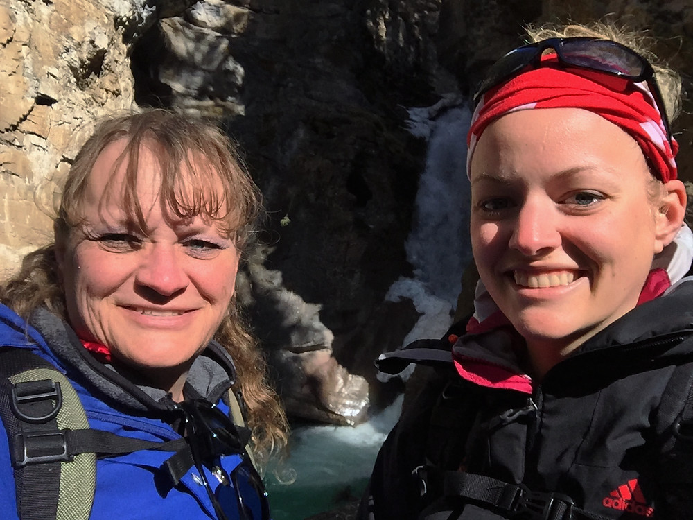 Mom and I in front of the Lower Falls