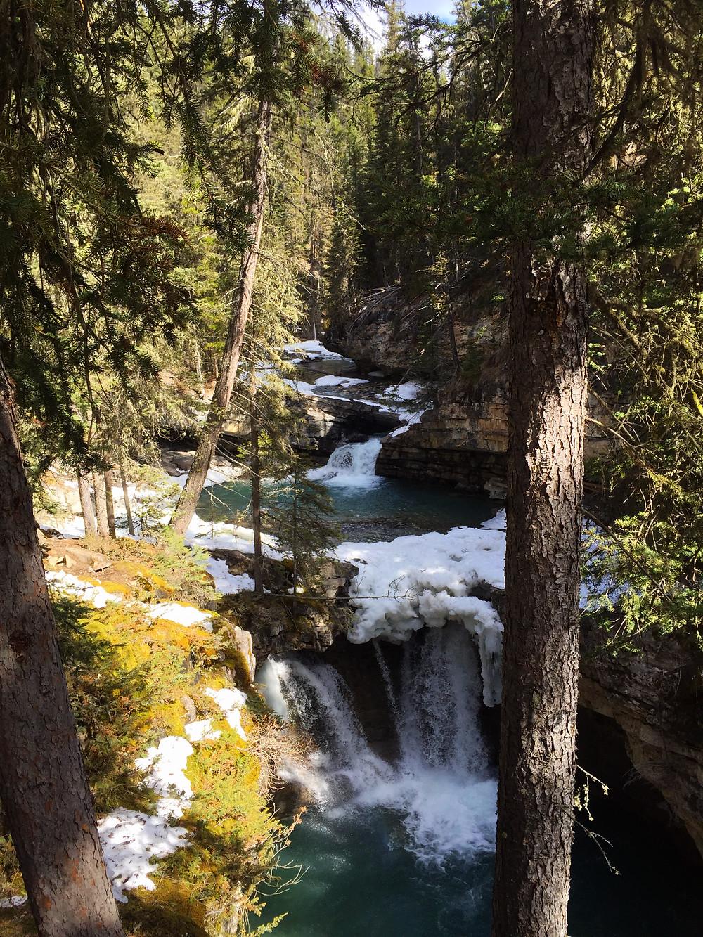 Beautiful waterfall along the canyon
