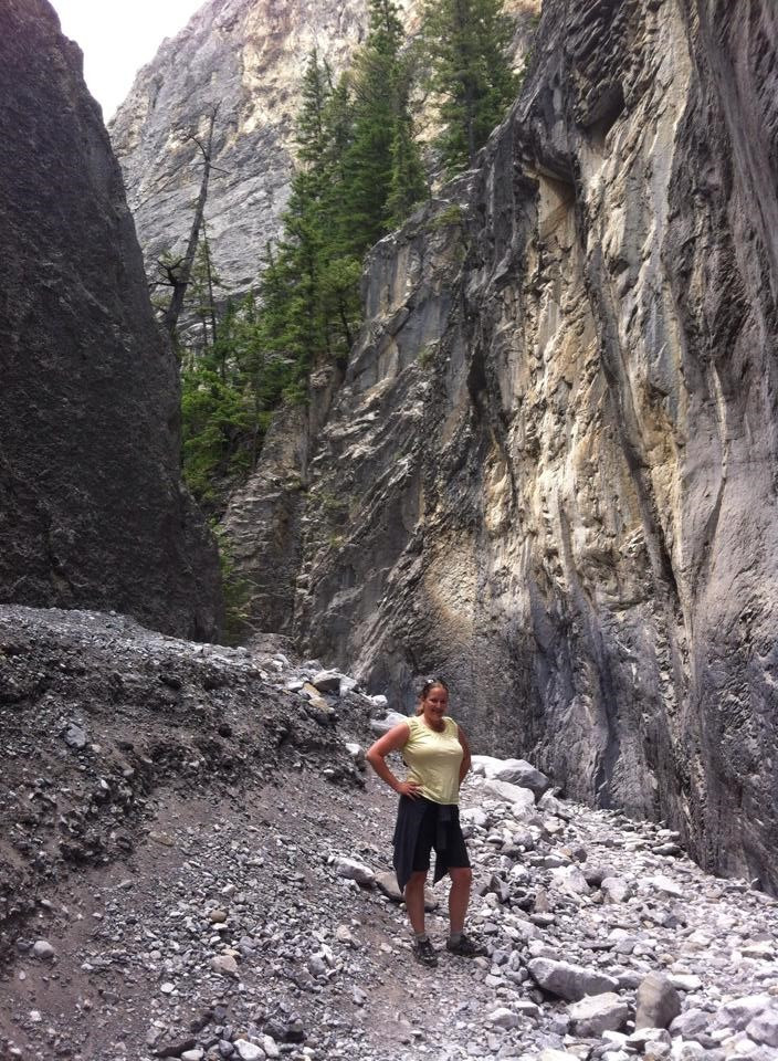 Kim posing in Grotto Canyon