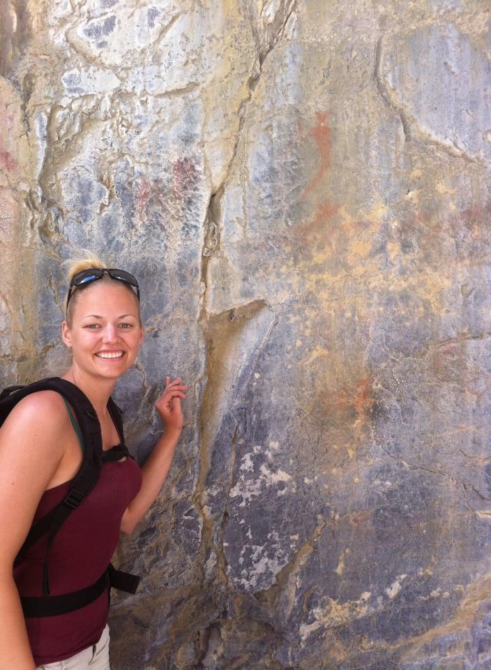 Posing with the pictographs
