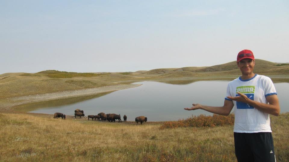 Matt posing with the buffalo