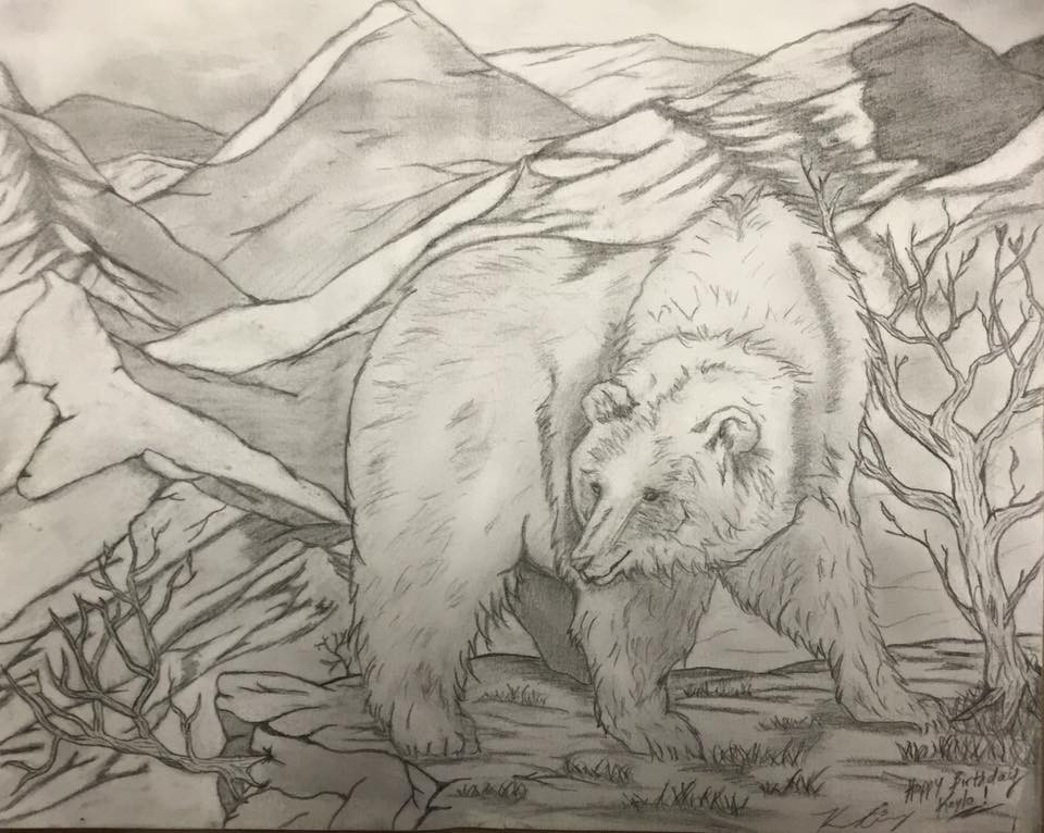 This drawing was done by my sister, Kimberley Armstrong (in just one night in between her studying for finals!)