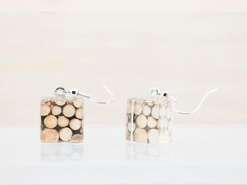 Rondins de bois, boucles d'oreilles