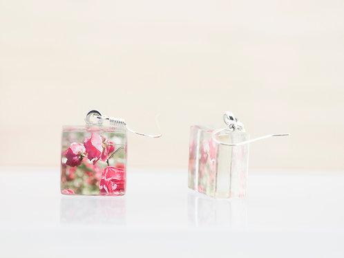 Fleurs de rosiers, boucles d'oreilles