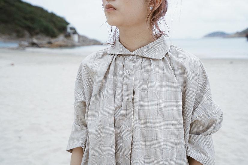 April' checkered shirt - beige