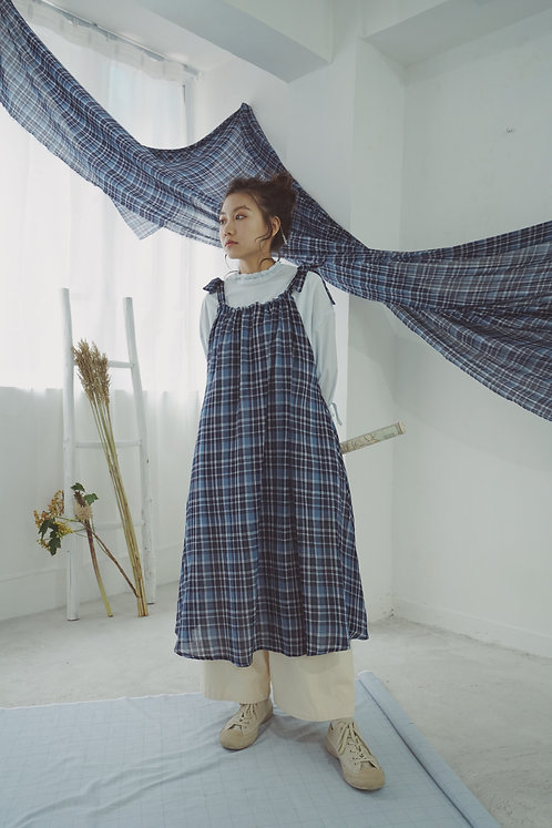 August' sling butterfly dress ⇀ blue checkered