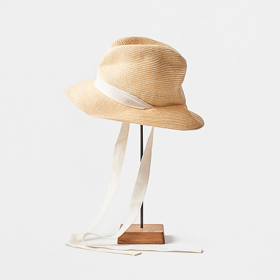 mature ha - BOXED HAT 7cm brim garden ribbon (natural x natural)