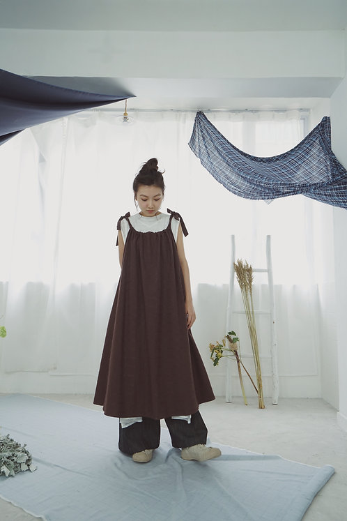 August' sling butterfly dress ⇀ brown checkered
