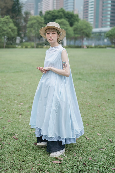 two way wonder sundress - stripe blue  & light blue