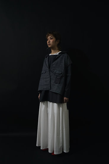 Oct' long vest & coat - black gray