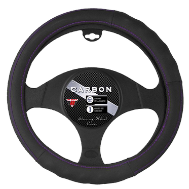 CARBON STEERING WHEEL COVER - PURPLE