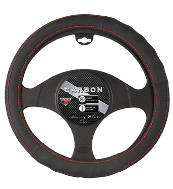 CARBON STEERING WHEEL COVER - RED