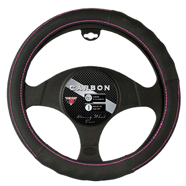 CARBON STEERING WHEEL COVER - PINK