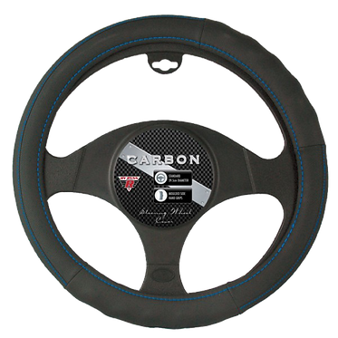 CARBON STEERING WHEEL COVER - BLUE