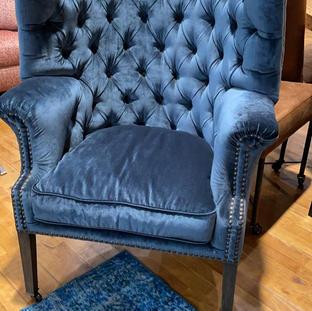 Captain chair, velvet blauw, voor kant op wielen