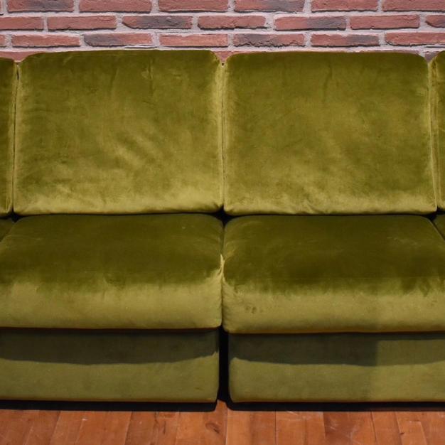 Bank velvet groen 4zits
