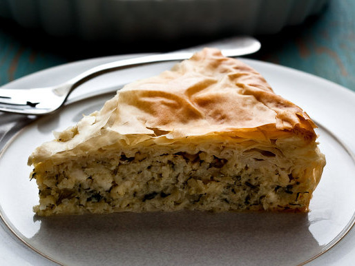 Greek Style Kohlrabi Pie with Dill & Feta