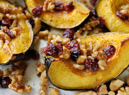 Acorn Squash with walnuts and cranberries