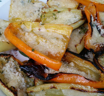 Grilled Gypsy Peppers with Parmesan Cheese