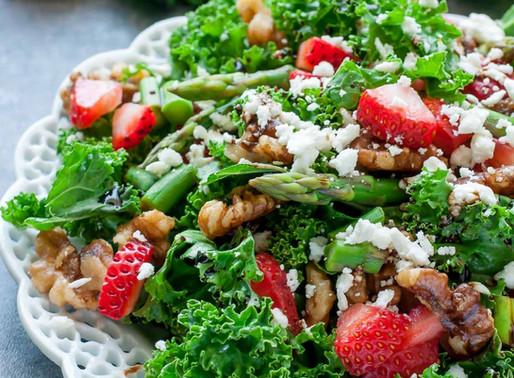 Strawberry Kale Salad w/ homemade Balsamic