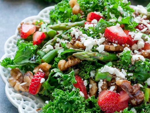 Strawberry Kale Salad w/ homemade Balsamic