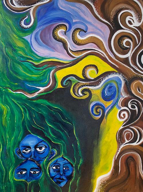 Blue Children Original Painting