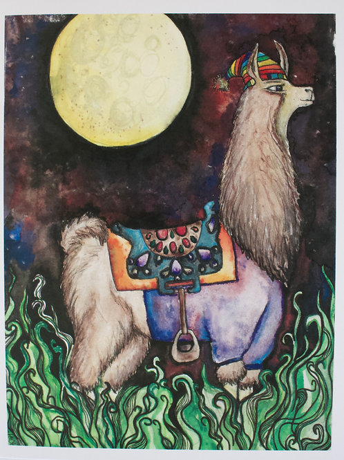 Galaxy Llama Greeting Card