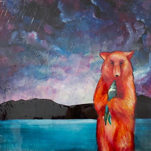 Posing with my Fish Original Painting