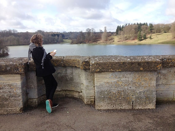 Thea drawing from a bridge over a lake at Blenheim Palace, Woodstock, UK.