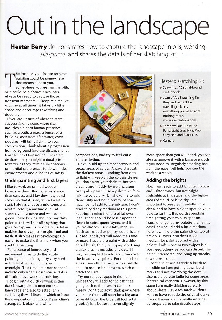 Magazine article about landscape sketching.