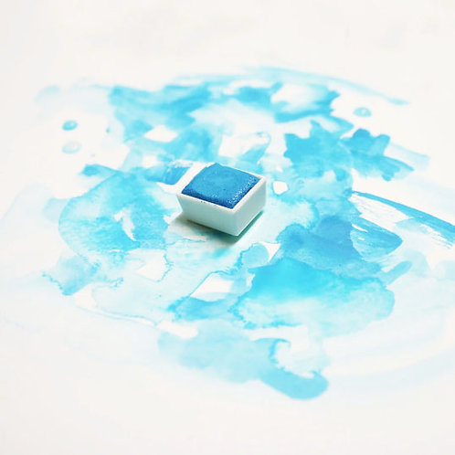 Lagoon Blue Magnetised Watercolour half pan