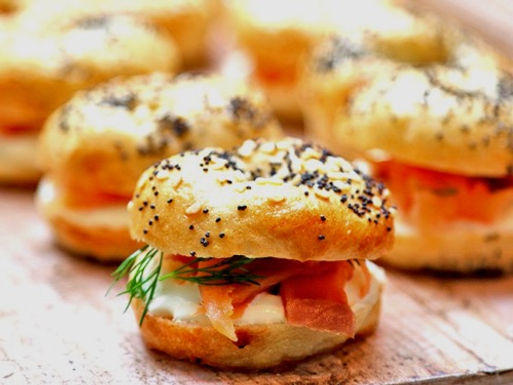 drop off finger food - petite bagels smoked salmon cream cheese(24)$90