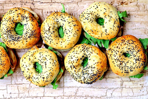 drop off finger food - petite bagels & seed rolls - $90 (24 pieces)