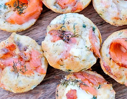 drop off finger food - Smoked Trout Gruyere petite savoury tartlets(24)$90