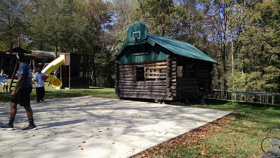 This was Jeff's first building, a cabin he built for himslef when he was only 16 years old. It si now a playhouse at the Galilean Childerns Home.