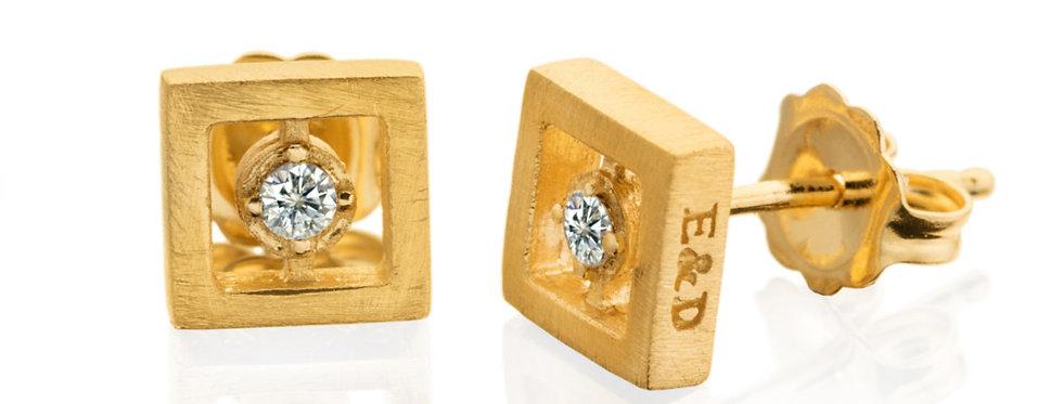 עגיל נצמד ריבועי זהב צהוב משובצי יהלום