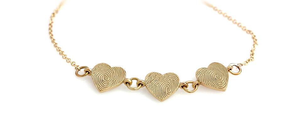 צמיד לבבות טביעת אצבע ילדים זהב צהוב 14 קראט