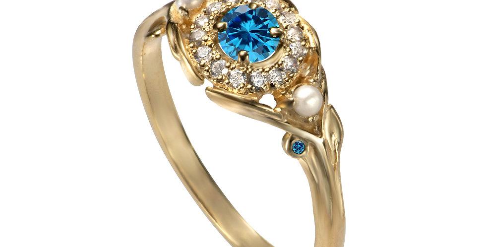 טבעת אירוסין 'עין הפנינה' זהב צהוב 14 קראט יהלומים ובלו טופז