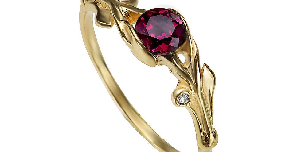 טבעת אירוסין עלים חובקי גרנט