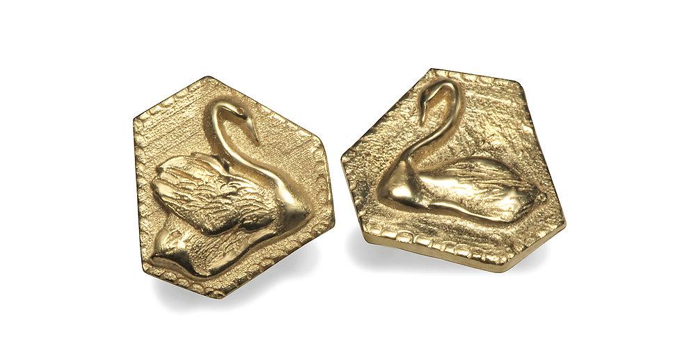 עגילי זהב זוג ברבורי אהבה 14קראט