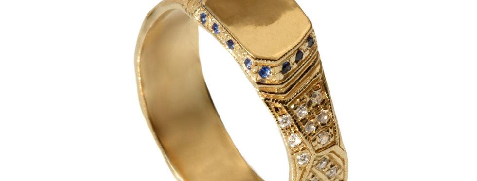 טבעת לגבר פרה היסטורית משובצת זהב צהוב