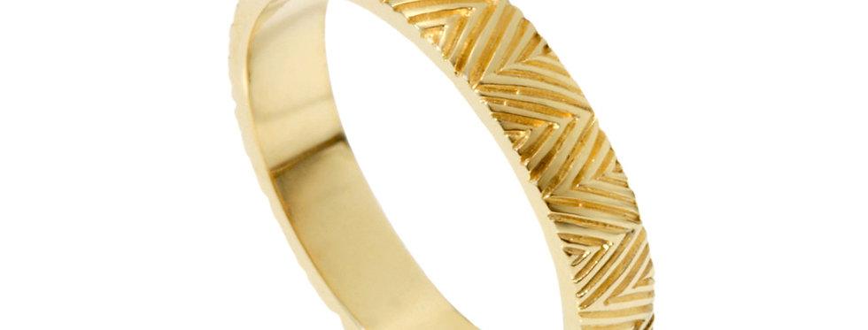 טבעת נישואין דקה חריטת אינדי