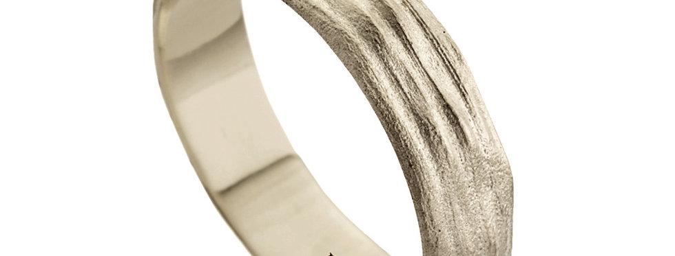 טבעת נישואין פסים גולמיים זהב לבן