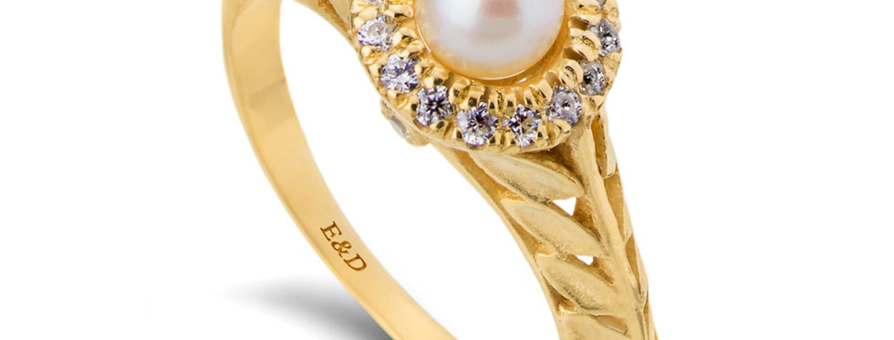 טבעת אירוסין עלים פנינה והילת יהלומים