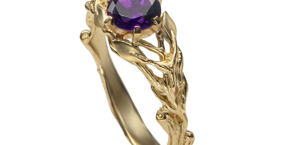 טבעת 'יערות ניו-זילנד' אמטיסט זהב 14 קראט