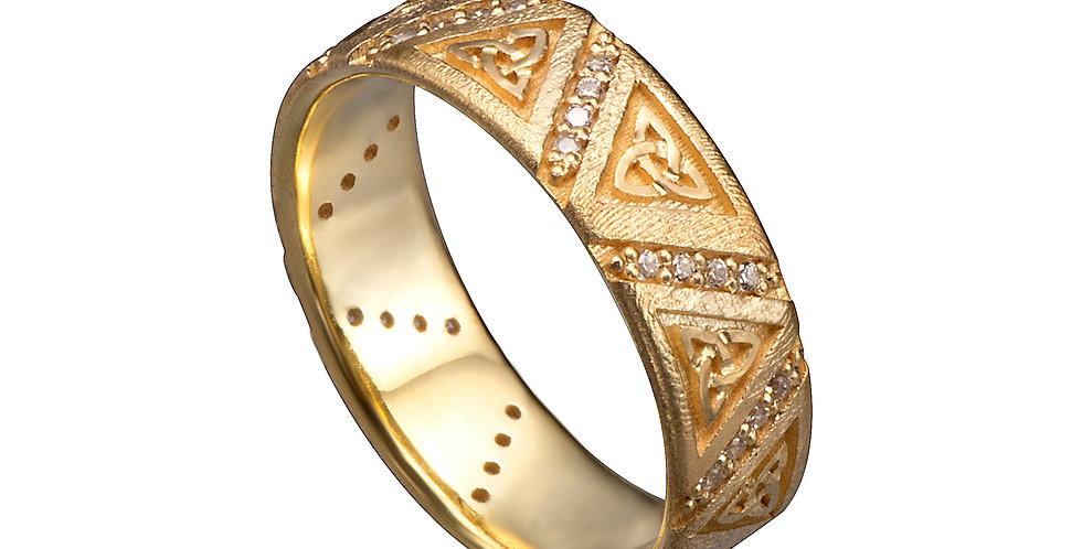טבעת טריניטי זהב ויהלומים